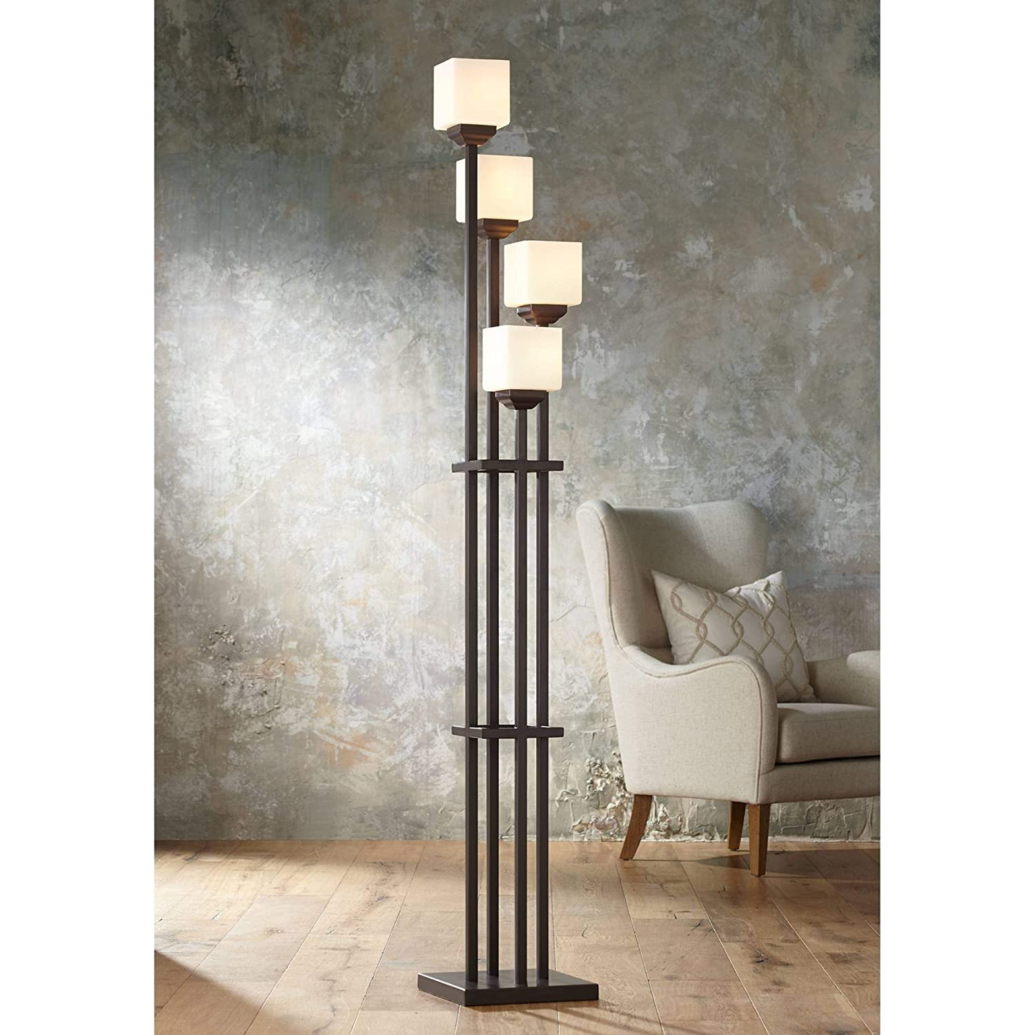 Light Tree Mission Torchiere Floor Lamp 4-Light Bronze Iron Square-Sided White Glass Shades for Living Room Bedroom – Franklin Iron Works