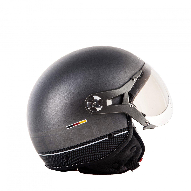 Sonnenvisier /· inkl Stofftragetasche /· Rot /&middo SOXON SP-325-PLUS Red /· Mofa Jet-Helm Pilot Vespa-Helm Motorrad-Helm Helmet Bobber Scooter-Helm Biker Retro Roller-Helm Vintage Chopper Cruiser /· ECE zertifiziert /· inkl