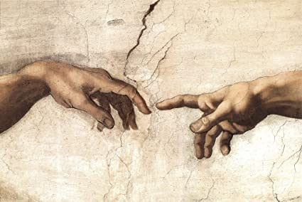 435729d4fb17 Michelangelo The Creation Adam Fresco Sistine Chapel Ceiling Closeup 1512  Biblical Narrative Poster 12x18 inch