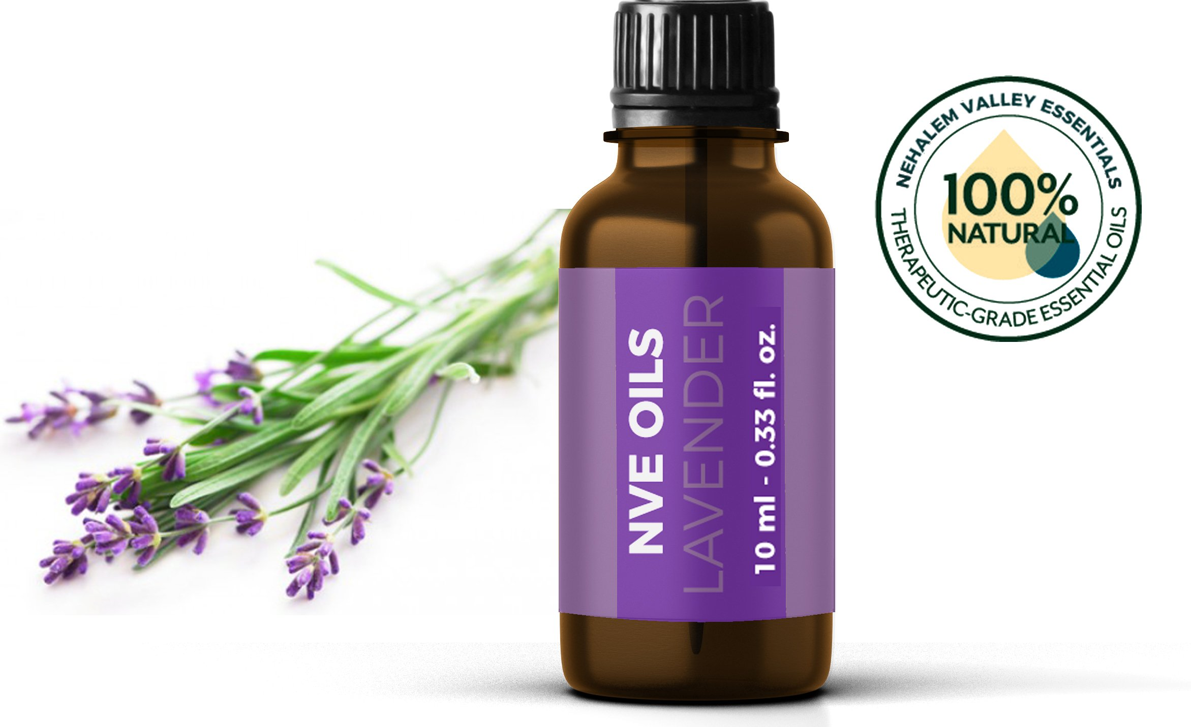 Pure Lavender Essential Oil By NVE Oils-Guaranteed 100% Pure & Natural For Diffuser, Aromatherapy, Headache, Pain, Meditation, Stress, Anxiety, Sleep, Cosmetics, Soaps, Candles, Skin Care, etc.