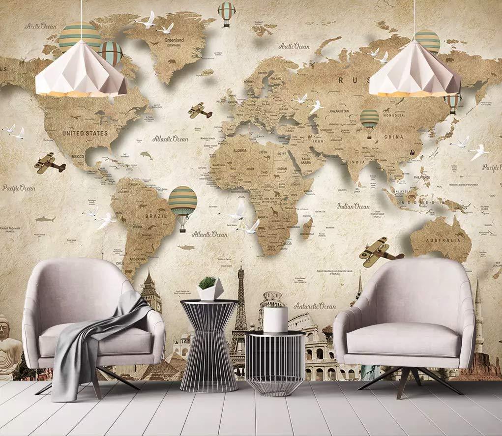 Amazon Com Brown World Maps Wallpaper World Map Wall Mural Living Room Office Room Bedroom Art Baby Room Custom Color M0212d Peel And Stick Handmade