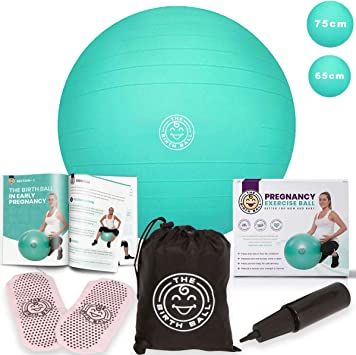 Amazon Com The Birth Ball Birthing Ball For Pregnancy Labor 18 Page Pregnancy Ball Exercises Guide By Trimester Non Slip Socks How To Dilate Induce Reposition Baby For
