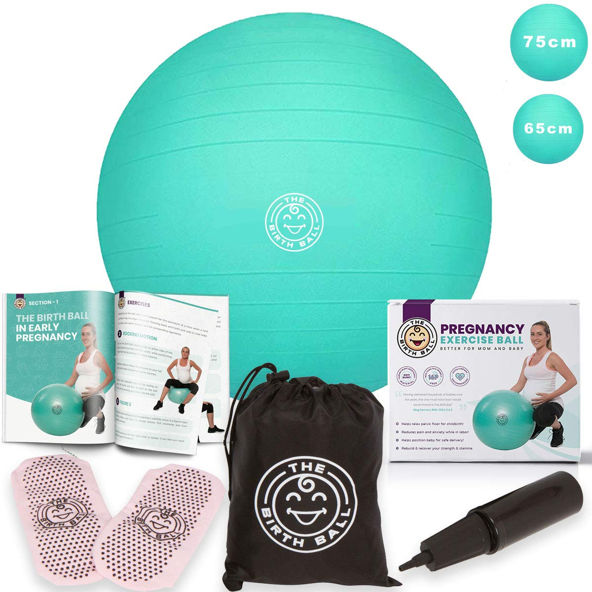 The Birth Ball - Birthing Ball for Pregnancy & Labor - 18 Page Pregnancy Ball Exercises Guide by Trimester - Non Slip Socks - How to Dilate, Induce, Reposition Baby for Mom 65cm by The Birth Ball