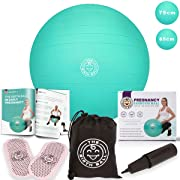The Birth Ball - Birthing Ball for Pregnancy & Labor - 18 Page Pregnancy Ball Exercises Guide by Trimester - Non Slip Socks - How to Dilate, Induce, Reposition Baby for Mom 65cm