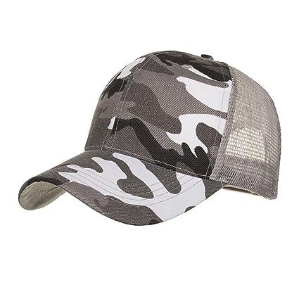 57ed58360 Botrong Camouflage Summer Cap Mesh Hats for Men Women Casual Hats Hip Hop  Baseball Caps (Gray)