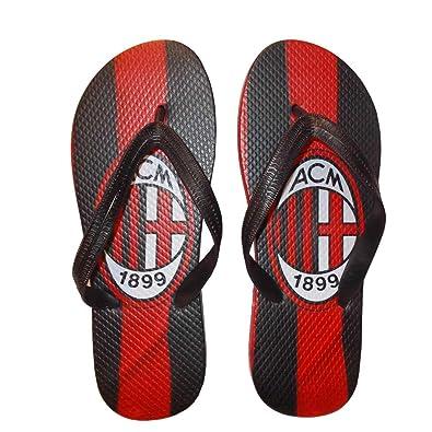 25c4da69abb61a AC MILAN Calcio Men s Thong Sandals Black Rosso Nero  Amazon.co.uk  Shoes    Bags