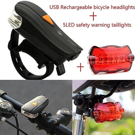 Koly Luz Bike Bicicleta Ligero Conjunto USB Recargable Faro Luz de ...