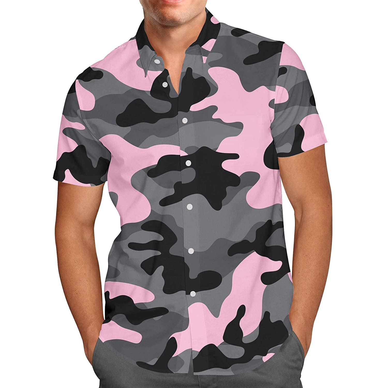 Queen of Cases Dark Camouflage Mens Button Down Short Sleeve Shirt