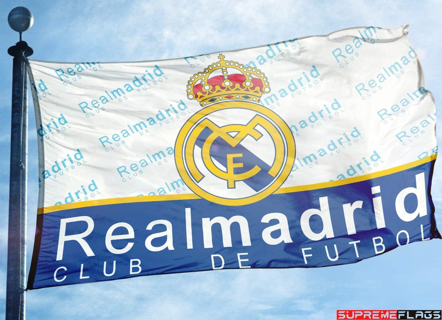 Bandera del Real Madrid 3 x 5 pies España Futbol Blanco Bandera de fútbol Club de Futbol: Amazon.es: Deportes y aire libre