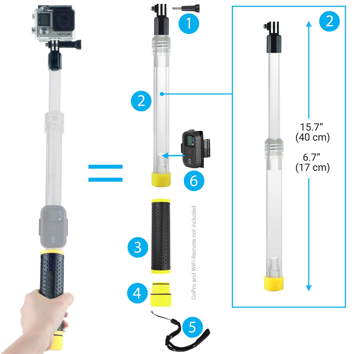 Camkix Replacement Waterproof Telescopic Pole Floating Telkomsel 17 Gopro Hero Session Hand Grip Compatible Cell Phones Accessories