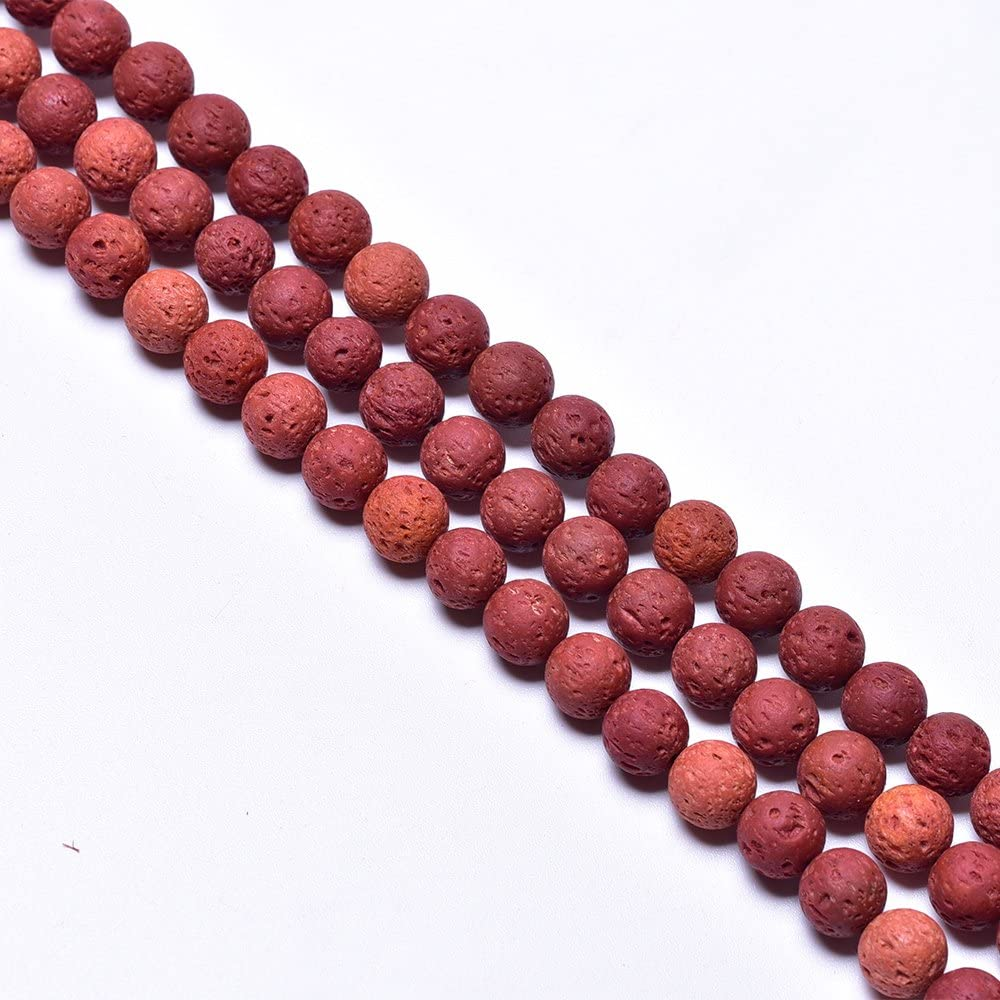 10mm - 100pcs 5 Colors Mixed Round Rock Beads Loose Beads Colored Lava Stone Beads Essential Oil Diffuser Volcanic Gemstone for Necklace Bracelet Jewelry Making