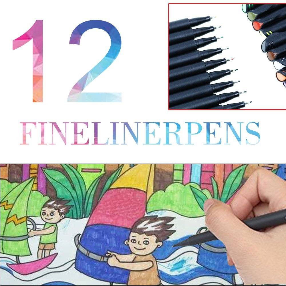 Allescool Fine liner Colour Pen Set, 0.4mm Coloured Fine Liner Sketch Drawing Pen,Pack of 12 Assorted Colours