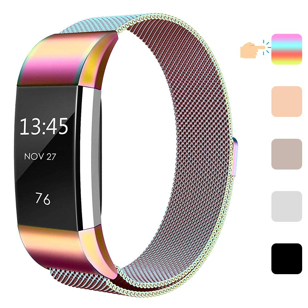 TNSO Compatible with Fitbit Charge 2,Stainless Steel Mesh Milanese Sport Wristband Loop with Adjustable Magnet Clasp,Replacement Wristband Small /& Large for Women Men