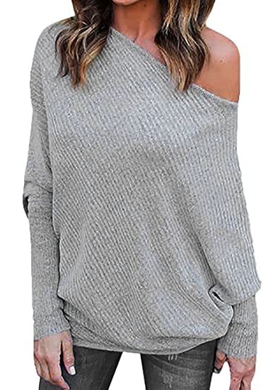 2bfdfc411ba9ca Young17 Off Shoulder Batwing Sleeve Loose Oversized Baggy Pullover Sweater  Knit Jumper at Amazon Women s Clothing store