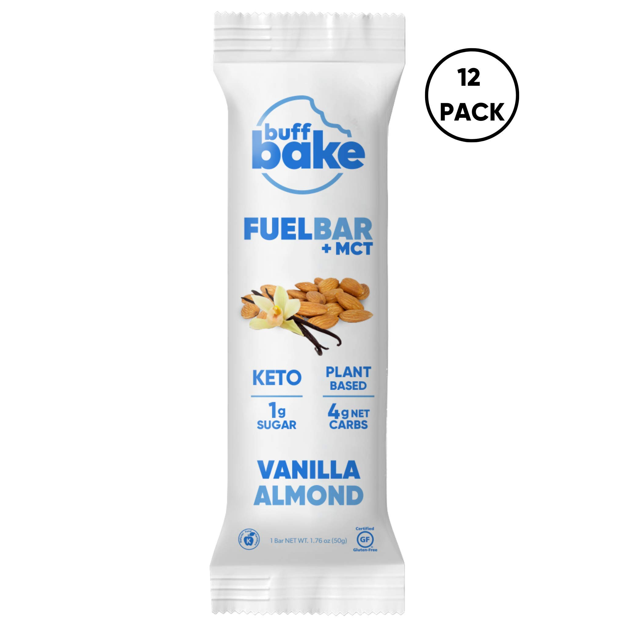 Buff Bake Keto Fuel Bar + MCT Oil - Ketogenic | Plant Based | Gluten Free | 12g of Protein | 1 Gram Sugar | 4 Gram Net Carbs | (12 Count, 50g) (Vanilla Almond, 12 Count) by Buff Bake