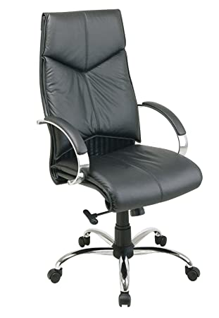 Office Star Deluxe High Back Executive Leather Chair With Chrome Base And  Padded Chrome Arms