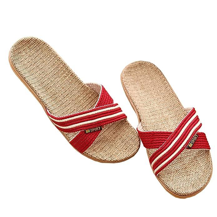 Couples Flax Floor Slippers Women Men Cozy Linen Breathable Indoor Slippers:  Amazon.ca: Shoes & Handbags