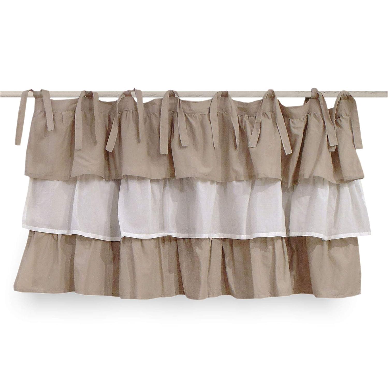 AT17 Mantovana Shabby Chic con balze Etoile Degradè Collection Tortora Off White Tortora 130 x 60 cm