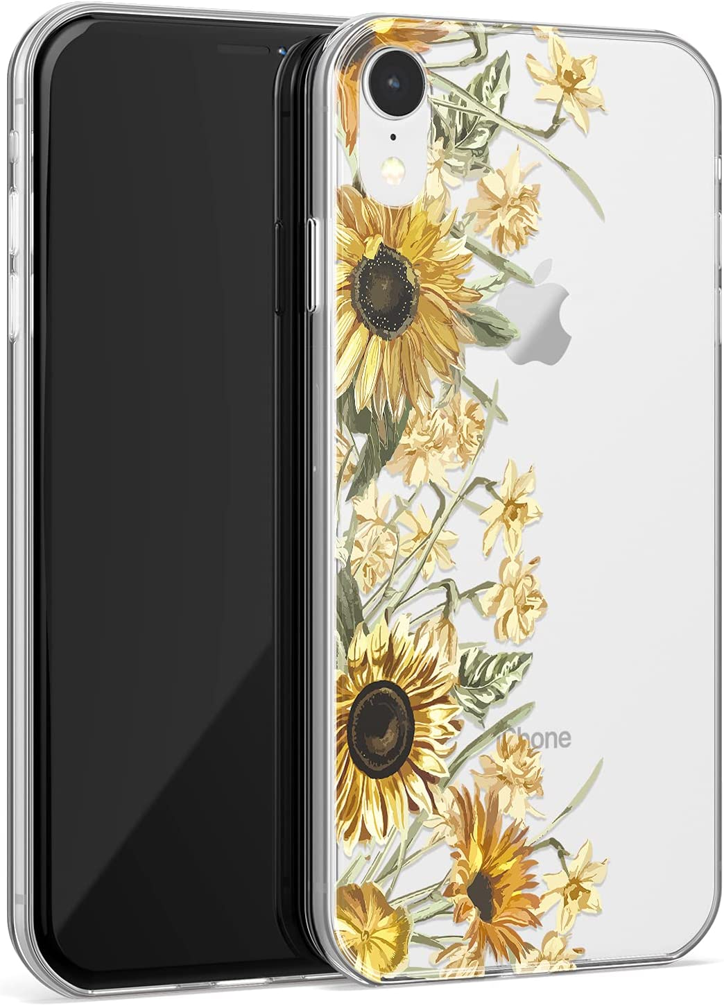 iPhone XR Case with Screen Protector,Clear Cover with Sunflowers and Yellow Floral Patterns for Girls Women,Shockproof Protective Phone Case for iPhone XR 6.1 Inch