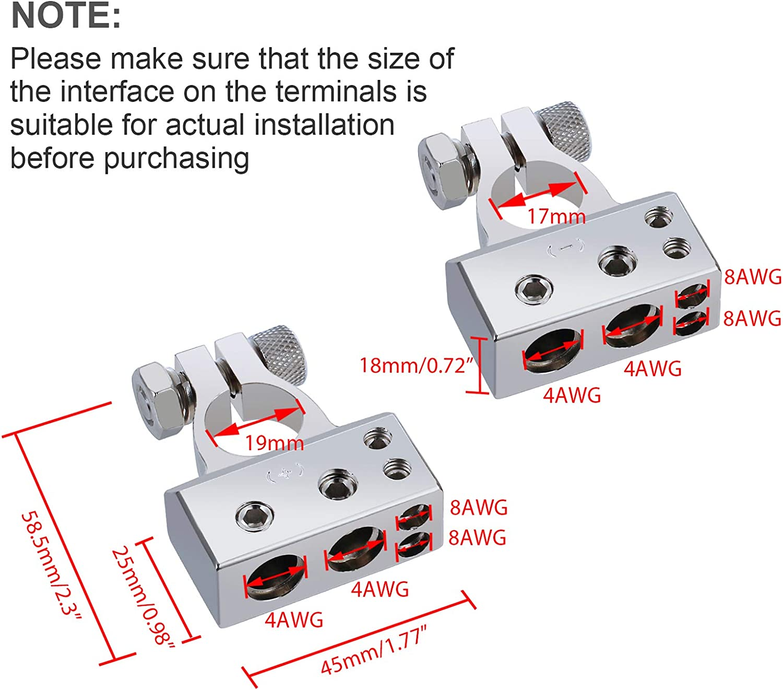 ZHITING 2 set Terminales de Bater/ía de Coche Conector Abrazadera Poditivo y Negativo Battery Terminal con Accesorios para Auto Barco