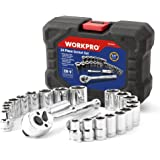 "WORKPRO 24-piece Compact Drive Sockets Set 3/8"" Ratchet with Blow Molded Case"