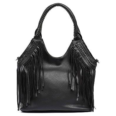 Amazon.com  Fashion Female Shoulder Bags Large Tassle Women Tote Bags Chain  Handle Messenger Bag Vegan Leather Hobo Fringe Handbag  Shoes b7fb247d3e10e