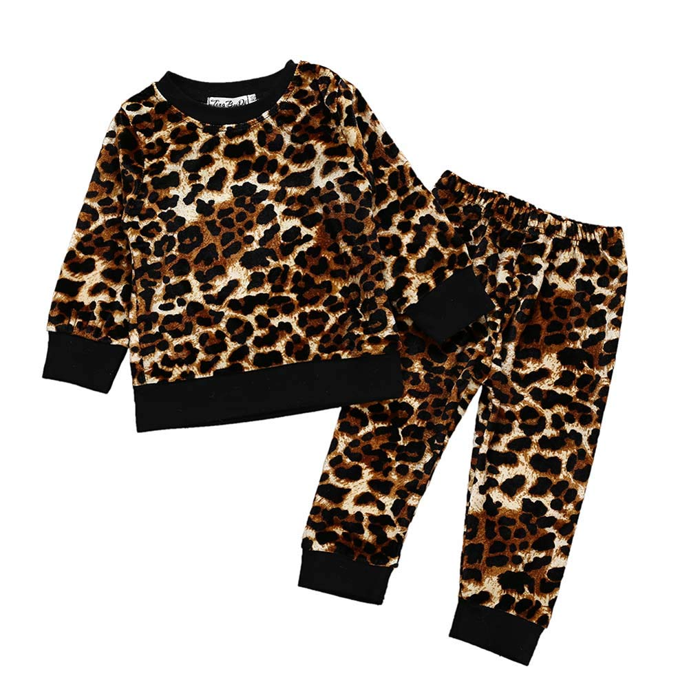 ESHOO Little Girl Leopard Printed Pullover Tops and Legging Pants 2 Piece Outfits Set