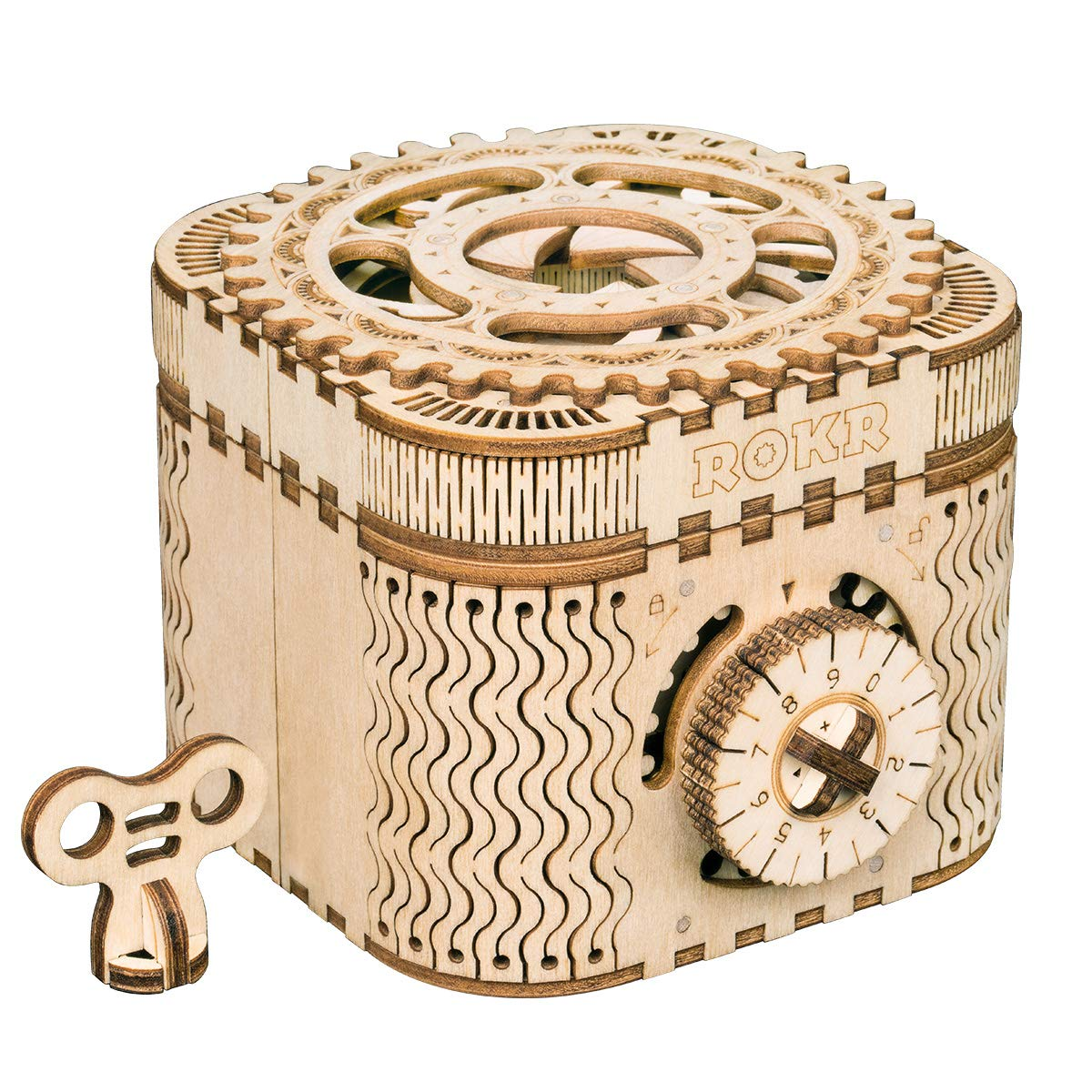 RoWood Mechanical Gear Treasure Box - 3D Wooden Puzzle Craft Toy, Brain Teaser DIY Model Building Kits, Gift for Adults & Teens, Age 14+ by RoWood