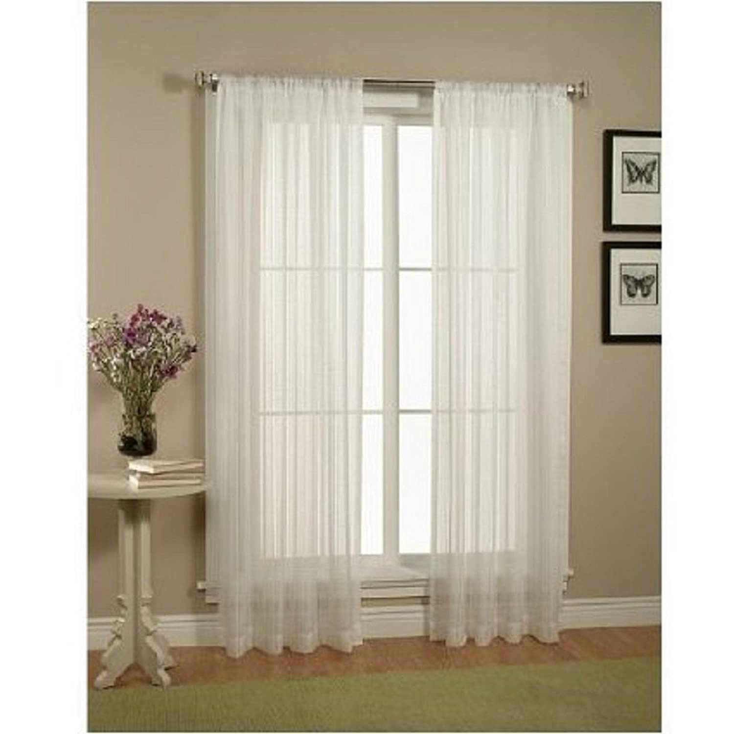 Amazoncom Elegant Comfort 2Piece Solid White Sheer Window