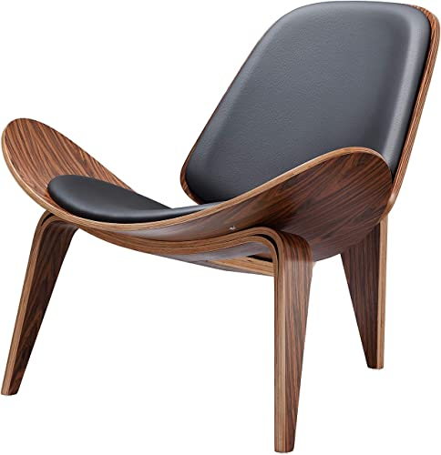 Mid Century Lounge Shell Chair Modern Tripod Plywood Lounge Chair Classic Design Plywood Rose Wood Chair and Black Leather for Living Room, Study, Lounge, Office