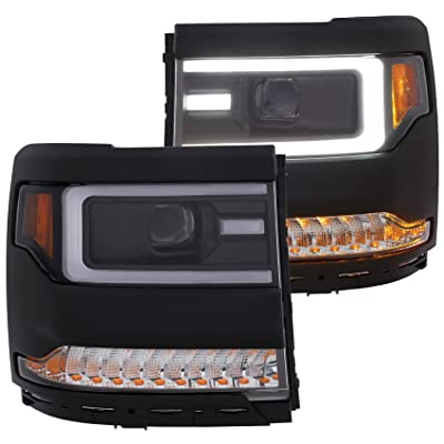 Anzo USA 111375 Projector Headlight Set Clear Lens Black Housing Pair w/Plank Style Switch Back w/Amber Sequential Turn Signal Projector Headlight Set: Automotive