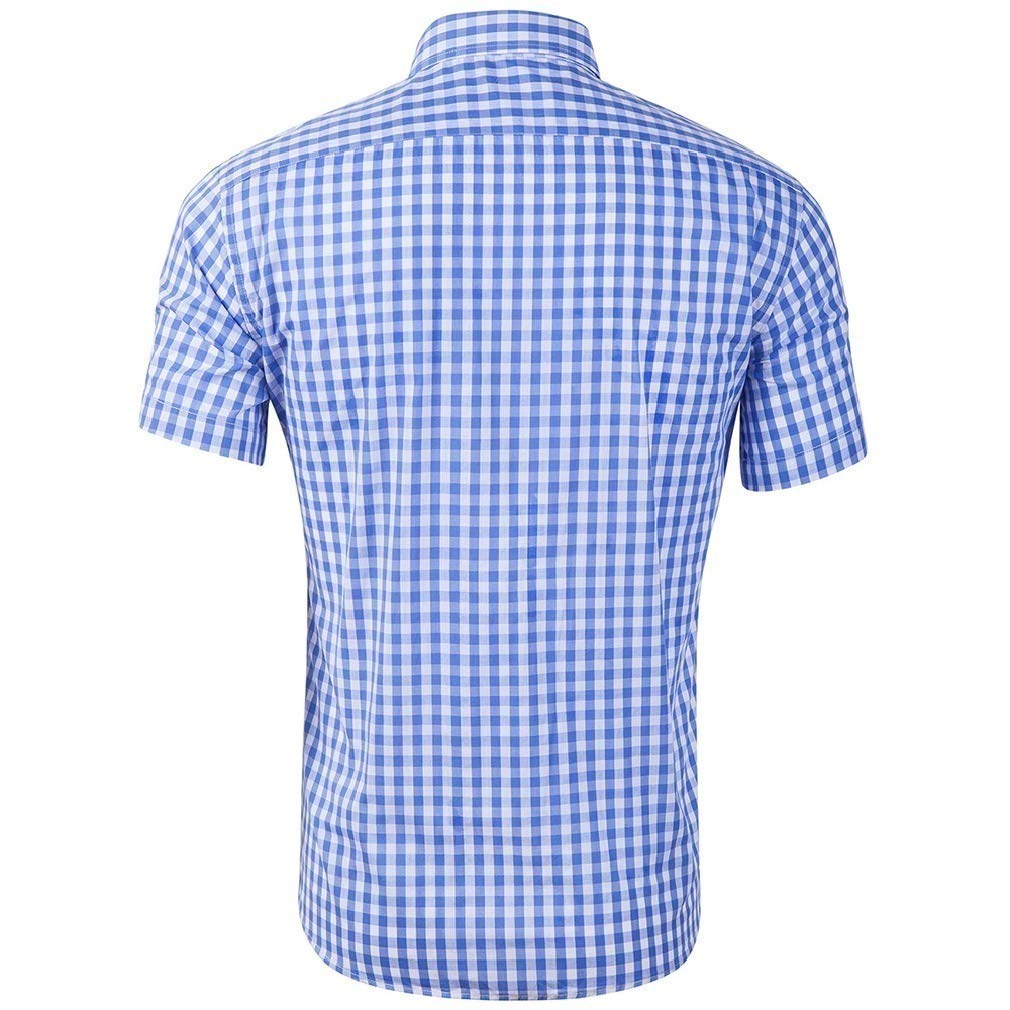 Abetteric Mens Cotton Plaid Short Sleeve Turn Down Collar Comfy Casual Shirt