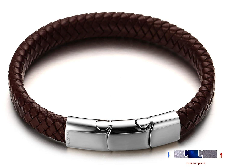 avec Le Bo/îte-Cadeau Gratuit Halukakah Plus ● Solo ● Homme Bracelet en Cuir V/éritable de Main Brun Fermoir Magn/étique en Titan Taille Ajustable 8.46-9 21.5-23cm