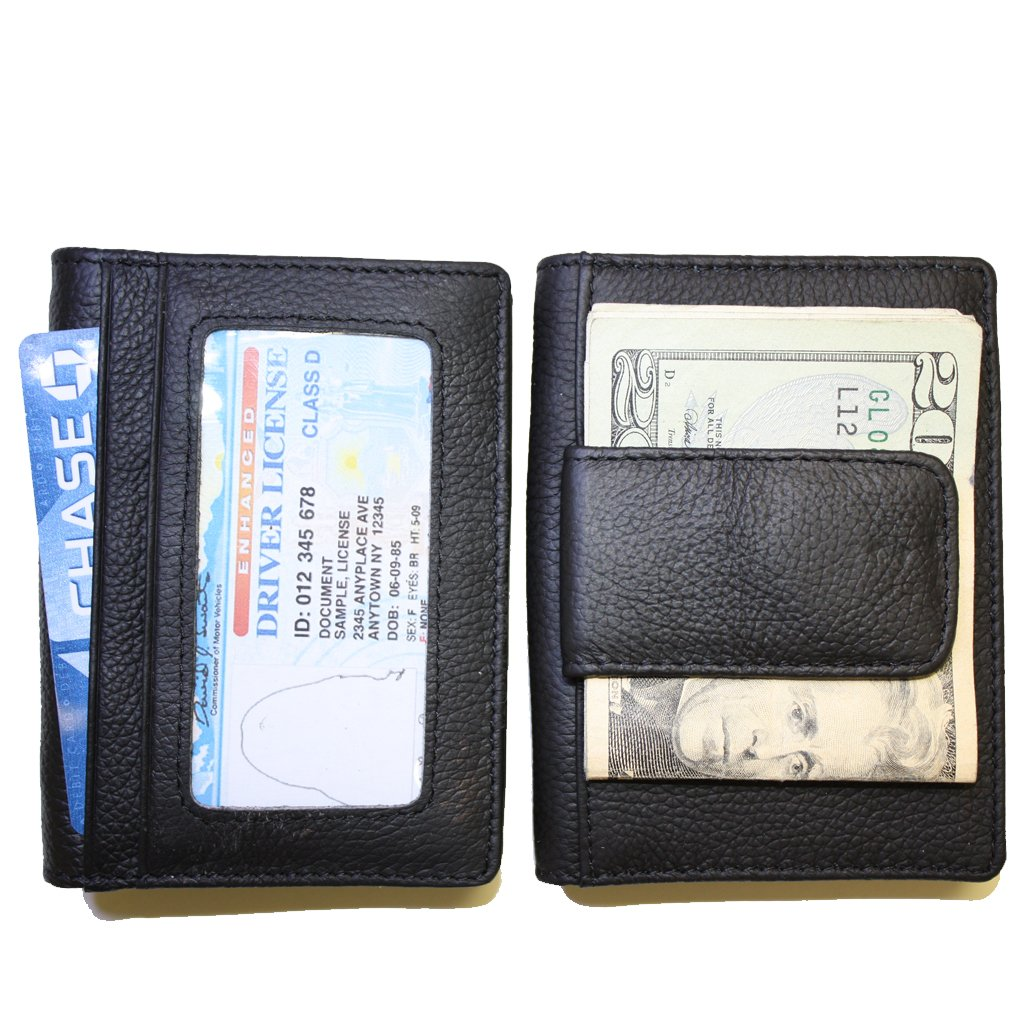 Amazon fine leather bifold wallet with money clip card id amazon fine leather bifold wallet with money clip card id holder black expanding wallets office products reheart Image collections