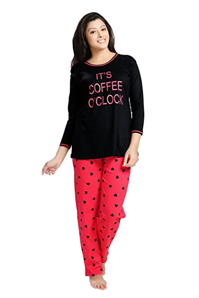 ad81f522ba30 SWEETNIGHT Girls Cotton It s Coffee O clock Printed Night Dress (XXS