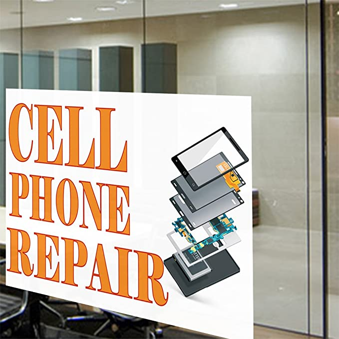 Set of 10 14inx10in Decal Sticker Multiple Sizes I Phone /& I Pad Repair Retail iPhone Repair Outdoor Store Sign White