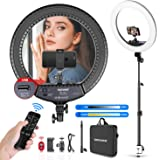 Neewer 18-inch LED Ring Light with Tabletop Light Stand and 2.4G Wireless Remote, 55W 3200K-5500K Ringlight with Soft Tube/Ph