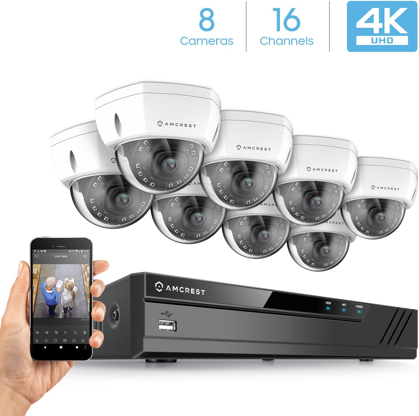 Amcrest 4K Security Camera System w 4K 16CH 8-Port PoE NVR, 8 x 4K 8-Megapixel IP67 Weatherproof Metal Dome POE IP Cameras 3840×2160 , 2.8mm Wide Angle Lens, NV4116E-HS-IP8M-2493EW8 White