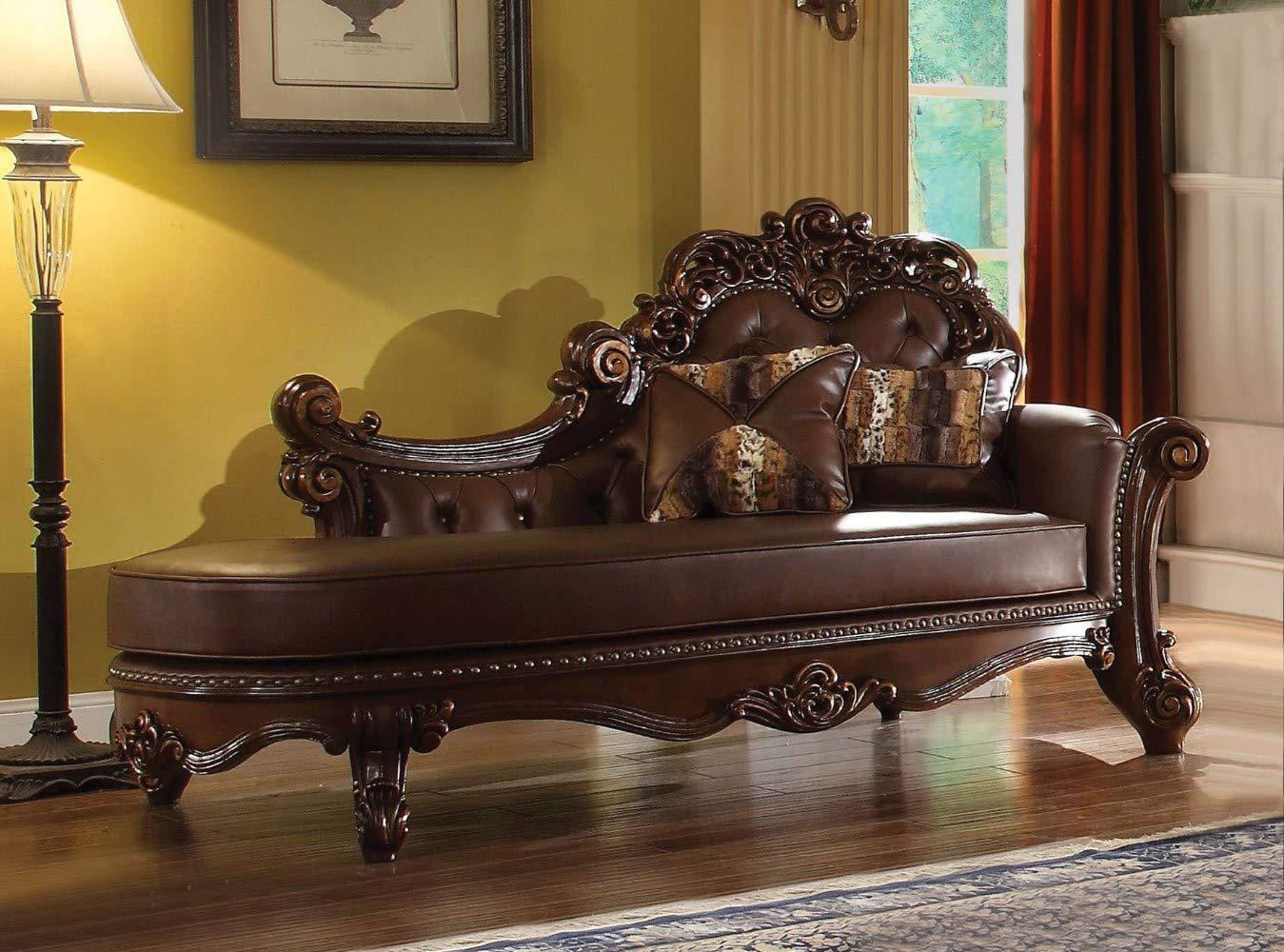 Benjara Benzara Wooden Chaise with Pillows, Brown, by Benjara