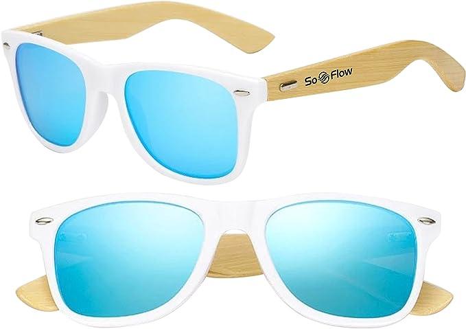 Amazon.com: soflow neón polarizada anteojos de sol de madera ...