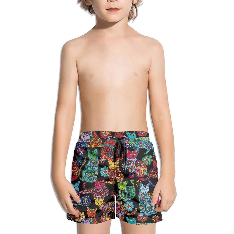 Beach Swim Trunks Quick Drying Drawstring Shorts Voslin Kids Unisex Space cat Pizza