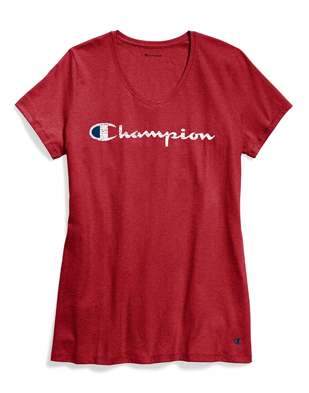 Champion Women Plus Jersey V-Neck Tee Graphic-Classic Script QW124G Y07245