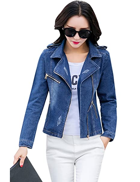 Tanming Womens Lapel Zip Up Moto Biker Denim Jean Jacket