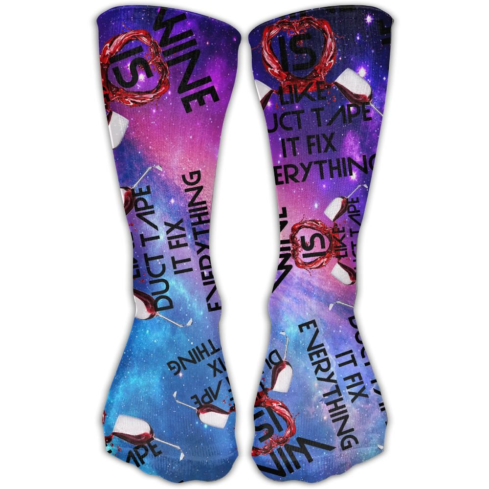 Wine Is Like Duct Tape It Fix Everything Gift Womens Cotton Hiking Socks Fashion Mid-Calf Socks
