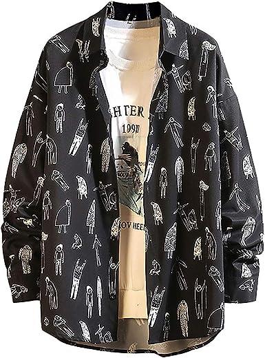 waotier Camisas Casual Hombre Tallas Grandes Primavera Moda Manga Larga Top Grande Cómodo Impreso Creativo Botón Blusa Camisa: Amazon.es: Ropa y accesorios