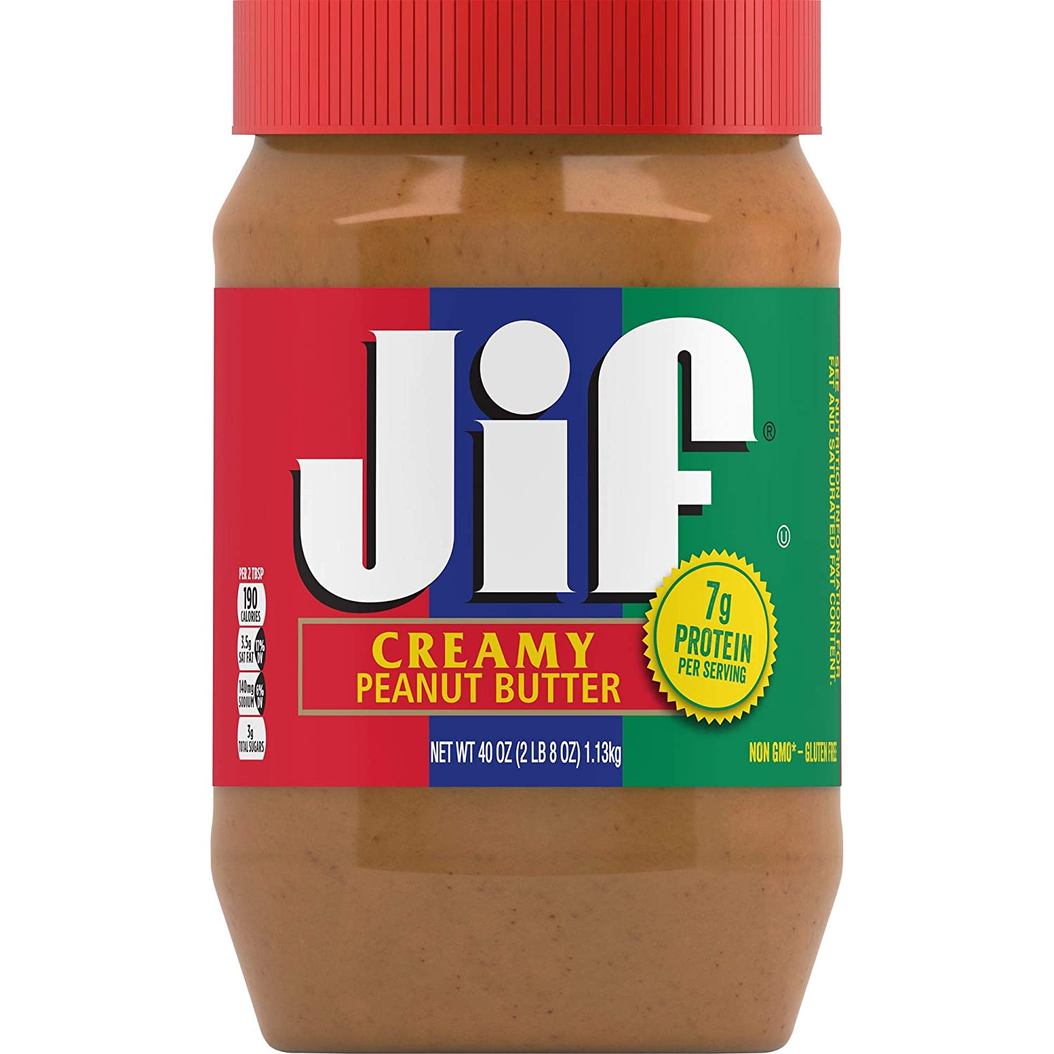 Jif Creamy Peanut Butter, 40 Ounces (Pack of 8), 7g (7% DV) of Protein per Serving, Smooth, Creamy Texture, No Stir Peanut Butter