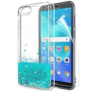 Funda Huawei Y5 2018 / Honor 7s Purpurina Carcasa con HD Protectores de Pantalla, LeYi Mujer Transparente TPU Gel Bumper Silicona Fundas Case Carcasas ...