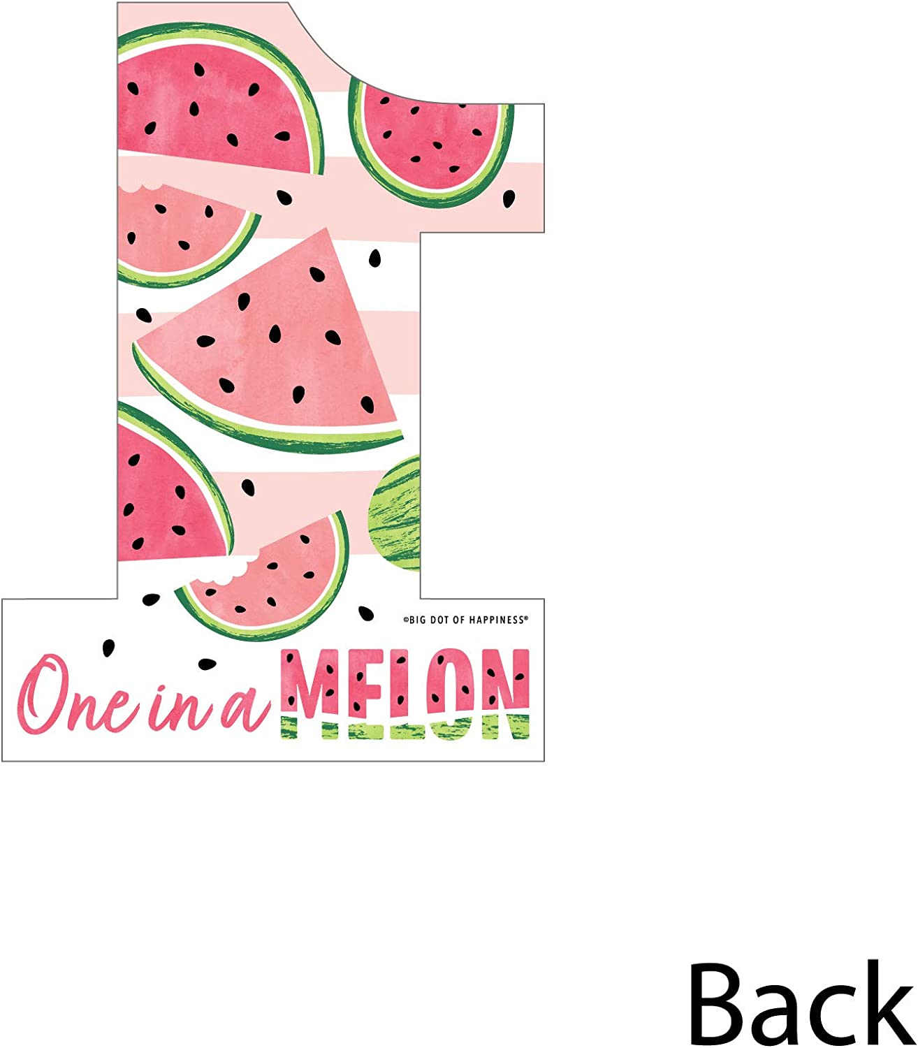 One Shaped Decorations DIY Fruit First Birthday Party Essentials Big Dot of Happiness 1st Birthday One in a Melon Set of 20