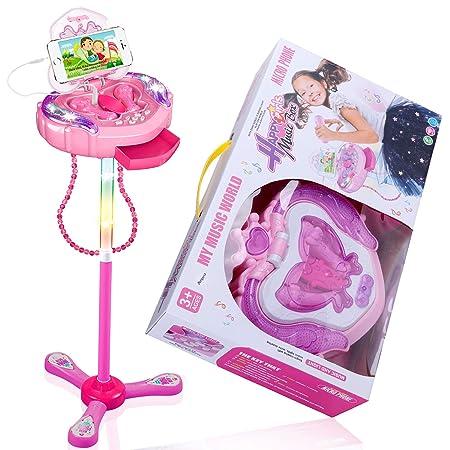 Anpro Kinder Karaoke Karaokemaschinen Karaoke-Mikrofon mit verstellbarem Ständer, Mikrofone Spielset von Zwei Mikrofonen Part