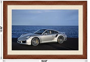 Amazon.com: Porsche 911 (991) Turbo S (2013) Framed Car Art Poster Print Silver Side Ocean View in Light Walnut Frame, 1